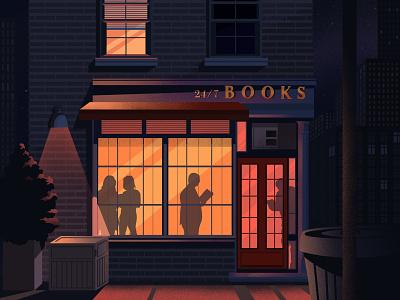 Book shop shadows light walk street 24h books bookstore book shop book art booking categories illustration art artwork art illustration