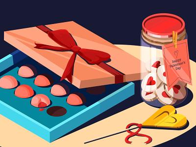 Valentine's Day artwork art illustration yumm lollipop biscuits couple chocolate chocolate bar candy valentine day valentines love gift lovers hearts cute