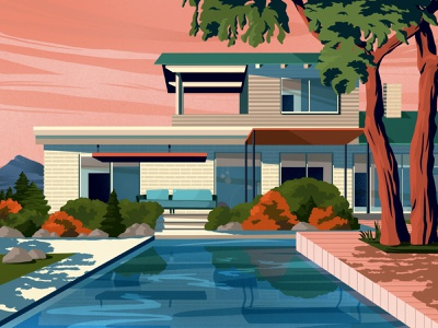 House landscape nature swimming pool summer party summer shadows pool building house architecture illustration art art artwork illustration categories