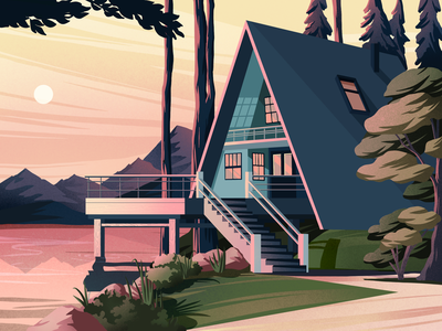 Lake house architecture mountain nature art landscape forest illustration art art artwork illustration