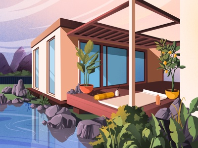 House nature art mountain architecture illustration art art artwork illustration house spring nature landscape