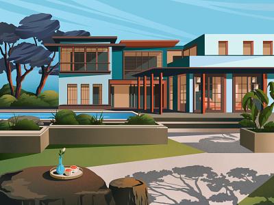 Summer villa illustration art illustration art house pool architechture architect houses cottage villa summer