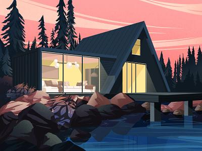 Night houses night illustration art artwork art illustration forests landscapes nature art mountains architecture