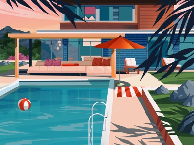 Pool mountain party fun summer pool architecture houses illustration art art artwork illustration