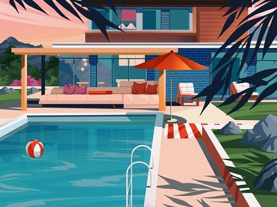 Pool mountain party fun summer pool architecture houses illustration art art artwork illustration