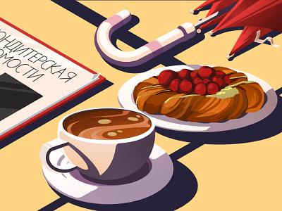 Saint.P started pack ) illustration artwork confectionery cherry coffeeshop shop rain umbrella drink coffee cup coffee food russia saint-petersburg travel