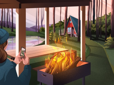 Weekend food illustration art art artwork illustration bbq mountain lake house houses wood firewood fire bonfire nature weekend