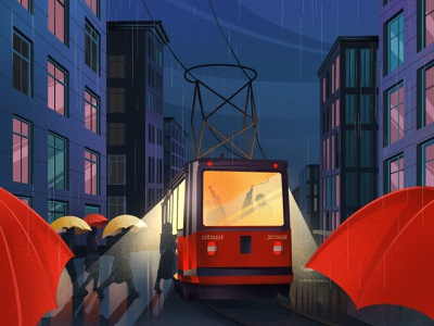 Rainy day light rainbow illustration art art artwork illustration umbrella street house windows tram night cloud rainy