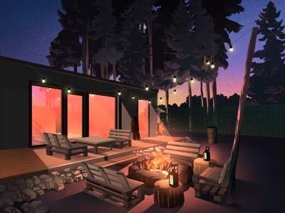 Inspiration art illustration art illustration artwork flashlight sunset fire architecture nature art forest night houses