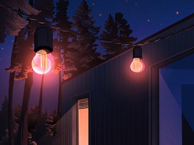 Light illustration art shine nature night sky spruce bulbs light