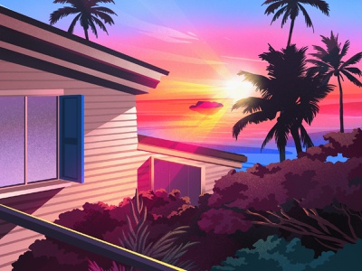 Soon... art illustration light architecture landscape ocean vacation sea summer sunset beach texture palm palmtree
