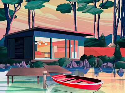 Sunset boat lake architect mountain nature art landscape art artwork illustration art houses
