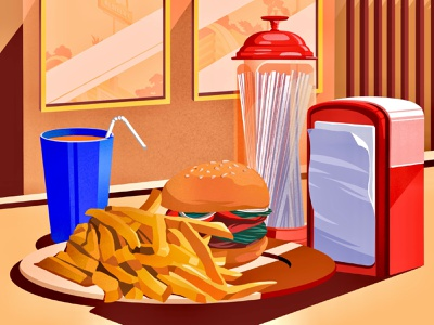 time for burgers and delicious fries 🍟 caffe drink fries burgers food and drink food art illustration art illustration artwork
