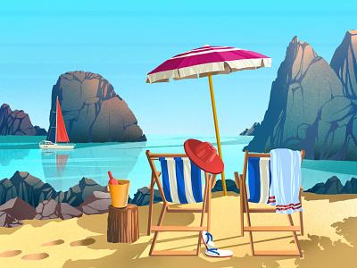 Relax illustration art drink artwork art vacation sea enjoy sun summer