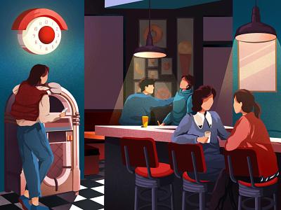 incognita illustration art friends weekends restaurant drinks evening