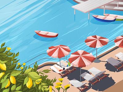 Spring swimming pool beach vacation ocean lemon