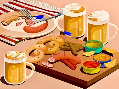 Favourite drinks illustration art art beer artwork illustration pretzels sausages drink food