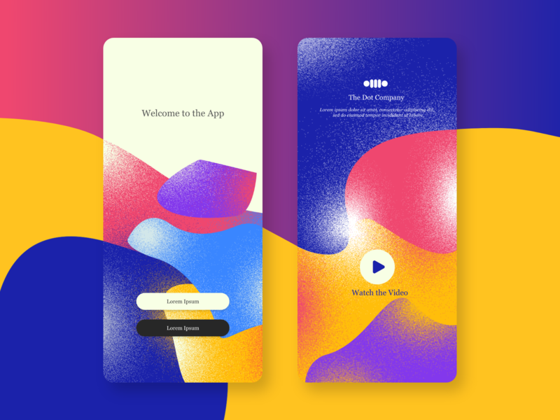 Colourful Screens flat app design design ui  ux violet yellow play modern noise dark blue pink video dot colorful design