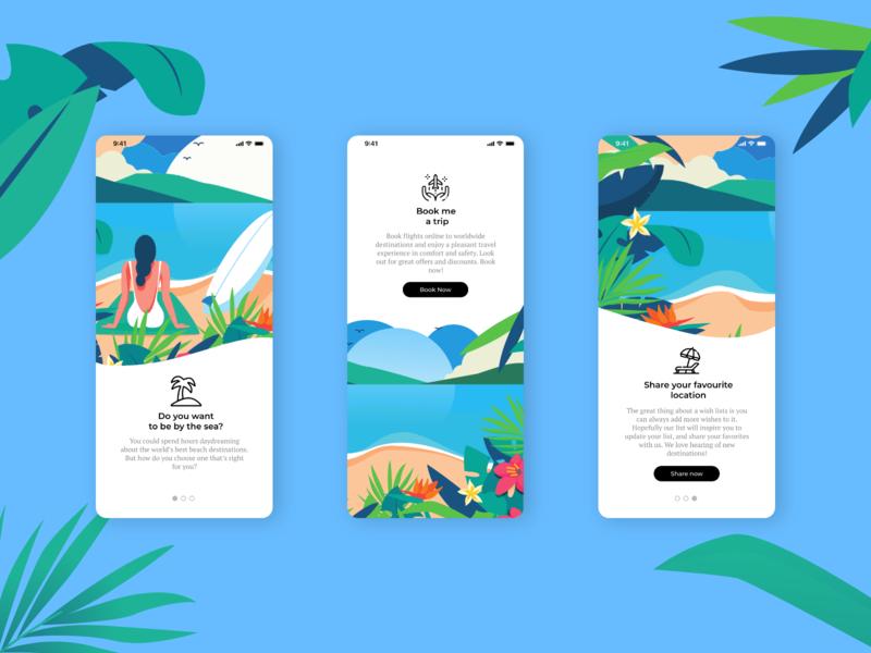 Booking App board surfing festive sand palms palm trees girl women blue lake iphone clean ui modern umbrella flight palm sea booking vacations summer