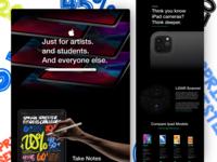 Ipad Pro Presentation Website expensive notes apple pencil shadows black camera ipad pro fitness app springtime clean ui spring 2020 apple