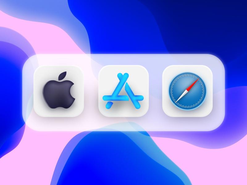 Soft Style Apple Icons - IOS 14 shadows pink blue wallpaper safari skeumorphism iconset neumorphic logo iphone ios14 icons adobe xd branding appstore product branding big sur appstore apple app 3d