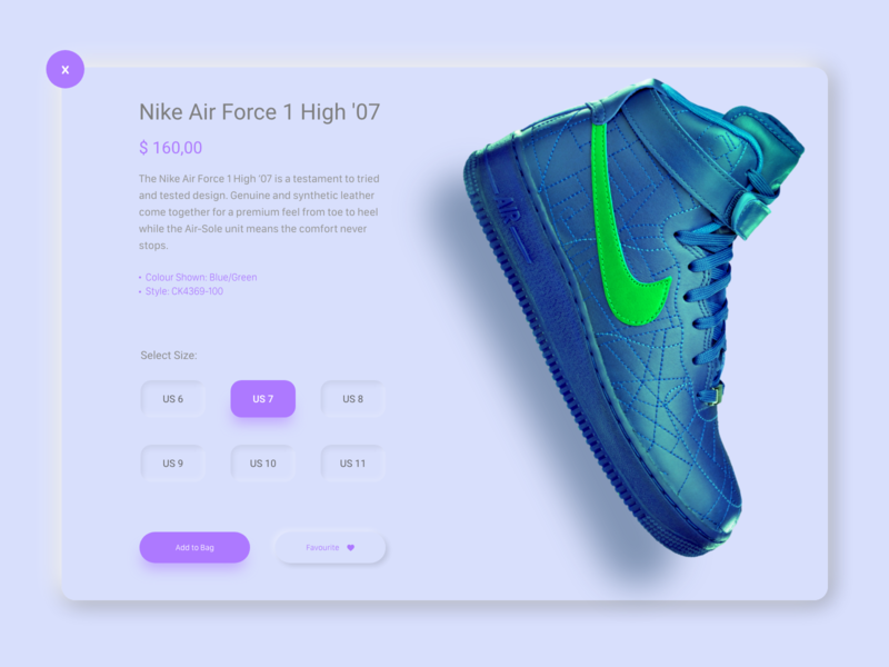 Nike Shoes - E commerce Section colour neon favourite add to bag air force 1 2007 soft size shadows product design nike air neumorphic design neumorphic high green force clean design clean ui clean buy now