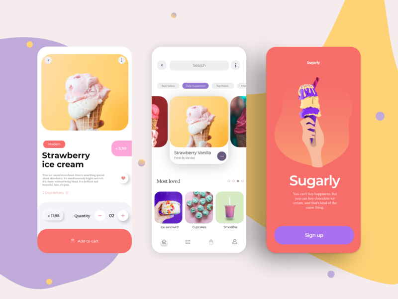 Sugarly - Ice Cream App delivery price pipe yellow violet vanilla summer sugar strawberry smoothie red modern mobile ice cream cone ice cream fresh cupcakes app cookies