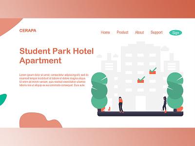 Student Park Hotel & Apartement yogyakarta illustrator logo ui branding minimal website flat app web ux design illustration