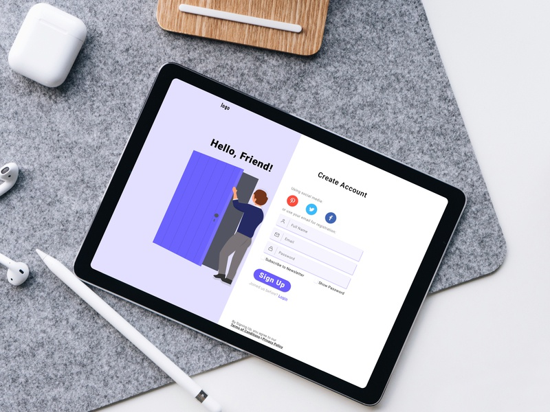Sign Up Page consistency minimalist design register learnuidesign ipad signup