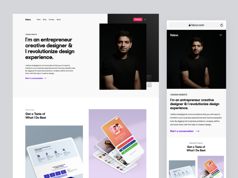 Faizur | Website Redesign homepage experience typography minimal interface branding design web portfolio ux ui website