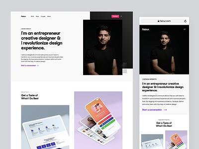 Faizur | Website Redesign homepage experience typography minimal interface branding design web portfolio ux ui website