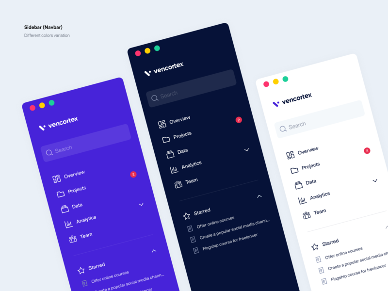 Sidebar Navigation - Vencortex design navigation menu icon icons navbar navigation menu web web design ux ui user experience user interface sidebar app