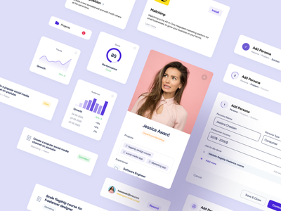 Figma UI Components card statistics figma chart uidesign ui system bar progress profile material icons grids form font field components library component clean