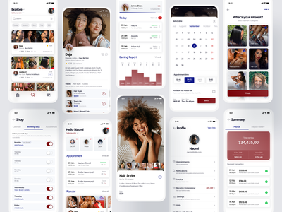 Beauty Service App spa skincare appointment listing calender services icons booking stats mobile salon beauty app beauty cards interface design ux ui profile app