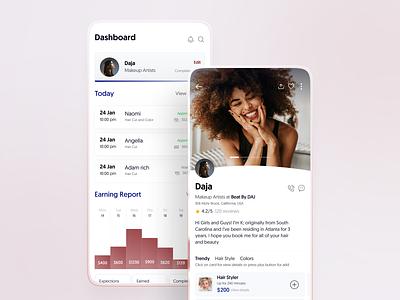 Beauty App | Taper beauty explore experience user interface ux ui salon app typogaphy statistic graph icons stats dashboad profile salon app