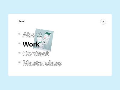 Navbar Experiment 001 | Faizur animation user experience bar typography image effect hover design motion interface ui website hamburger navigation bar menu navbar