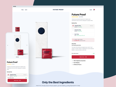 Product Page | FutureProofer layout product typography card minimal color app diet health vitamin responsive design interface user experience web design design web website ux ui product page