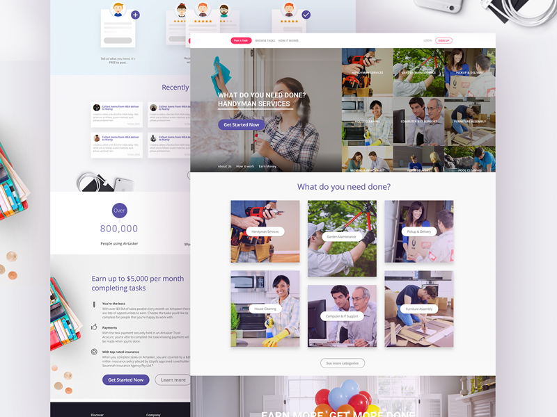 Savitasker Design and Developed find work landing page home experience web ux task design website