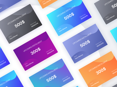 Virtual Payment Cards Designs typogaphy ios app iphone ux color gradient flat design payment bank finance loan credit card debit cards ui