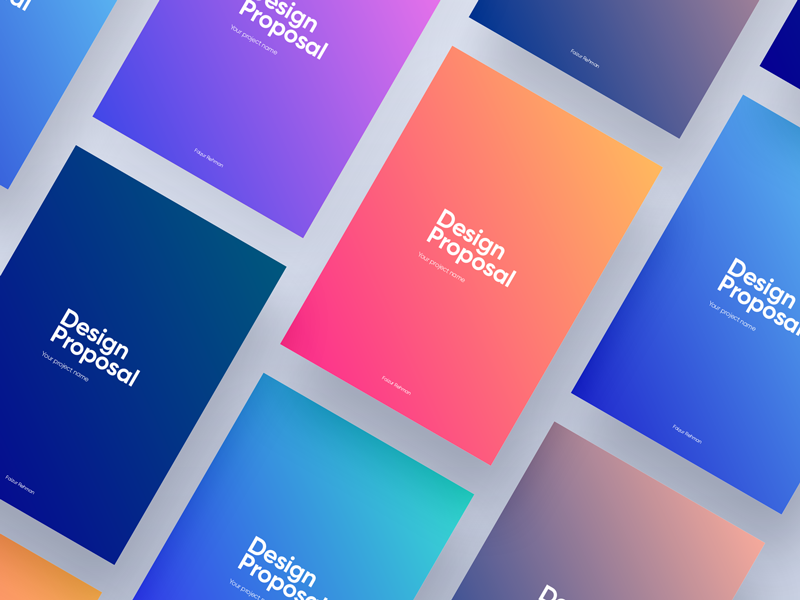 Colorful Proposal design web minimal company freelancer a4 typography color graident cover ui ux design sketch proposal