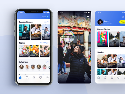 Video Social App story telling snapchat influencer video follower clean modern ui  ux design iphonex social app