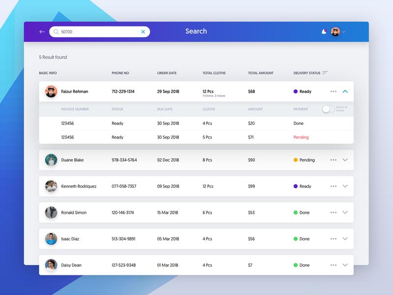 POS Search -  Dashboard card search ios pos booking interface list user data web design ux ui app dashboard