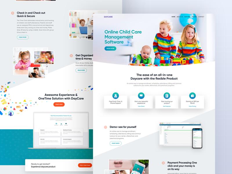 Daycare Website minimal interface experience user product responsive lander homepage app design landing page school ui web website