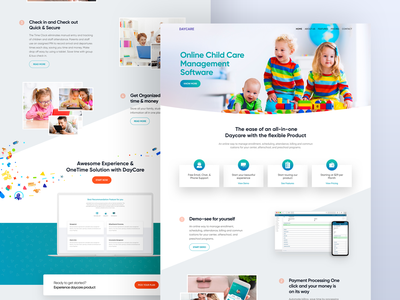 Daycare Website minimal interface experience user product responsive lander homepage app design landing page school ui web website