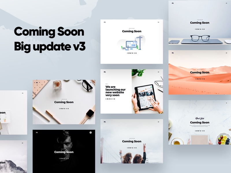 Coming Soon Responsive Website illustration dark mode animation template card multipurpose page ui ux experience interface responsive html clean white design minimal web site coming soon design website
