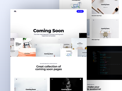 Landing Page Website sell coming soon animation white clean flat user experience interface gallery card page design layout web site clean website interface landing