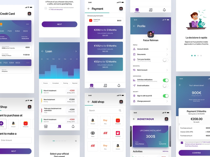 Loan iOS App banking graph website design invoice payment experience user ux ui card onboarding stats ios interface app