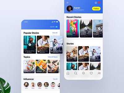 Video Story iOS App photo profile experience user video app video story app minimal ios web card interface design ux ui