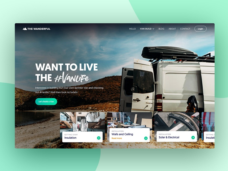 Homepage Design V2 - Wanderful blog ui design 2019 trends flat webdesign landing page homepage experience design ui lander web website