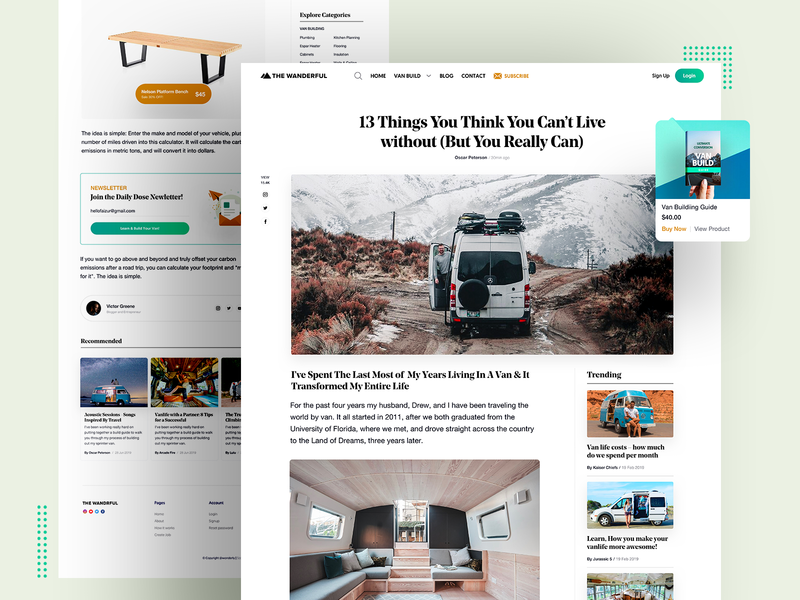 Blog 2.0 for Vanlife content article ux user ui typography responsive product lander interface experience app website web design